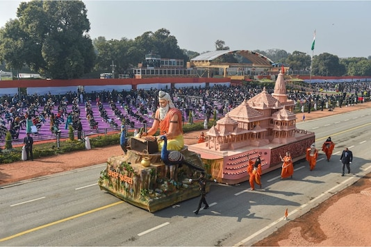 The Ram Temple tableau is seen at the Republic Day parade. (PTI)