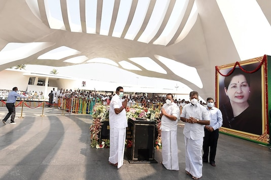 Tamil Nadu Chief Minister Edappadi K Palaniswami and Deputy Chief Minister O Panneerselvam pay respects after inaugurating Jayalalithaa memorial, in Chennai on Wednesday. (PTI)