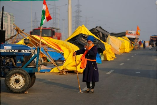 A protester stands at the Delhi-UP border during demonstrations against the Centre's farm laws. (AP)
