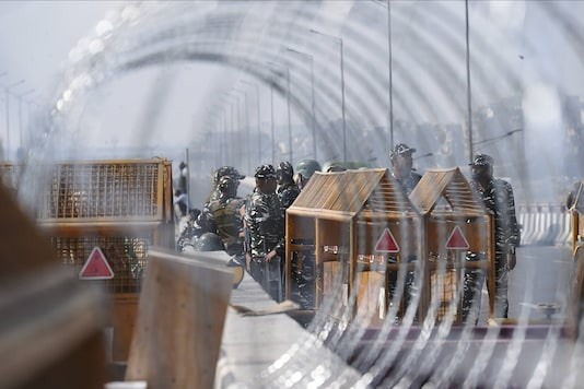 New Delhi: Heavy security deployment at Ghazipur border during farmer's protest against the new farm laws. (PTI Photo)