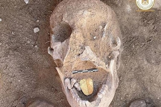 The 2000-year-old mummy that was discovered with a gold tongue. (Credit: Twitter)