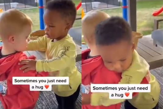 The 10-second clip, originally uploaded on TikTok, features two little boys standing in front of each other and one of them seems to be teary eyed and sobbing.  (Credit: twitter)