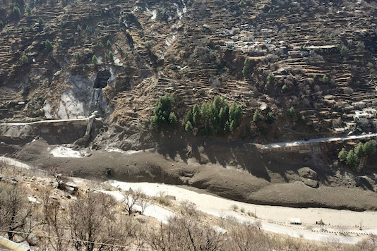 A view of damaged dam after the Nanda Devi glacier broke and crashed into the dam in Chamoli district in Uttarakhand on February 7, 2021. (REUTERS)