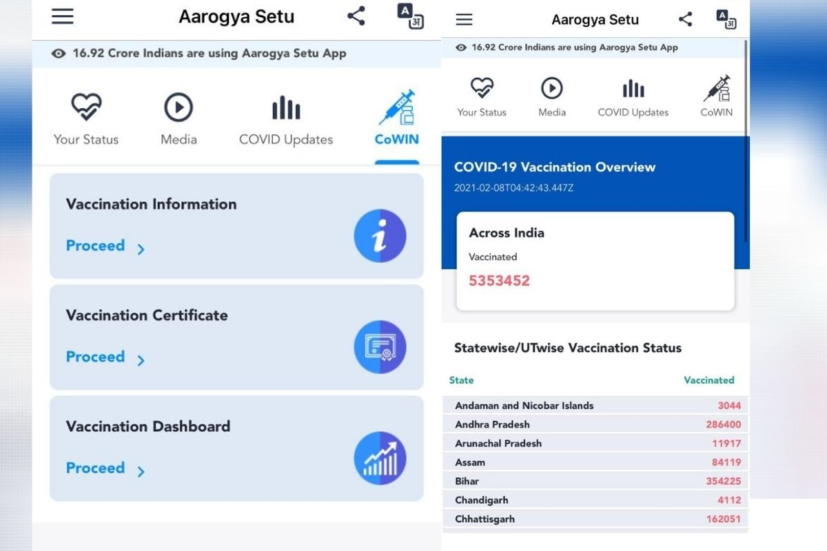 Aarogya Setu Gets a New CoWIN Dashboard for COVID-19 Vaccine Certificate, Other Related Details