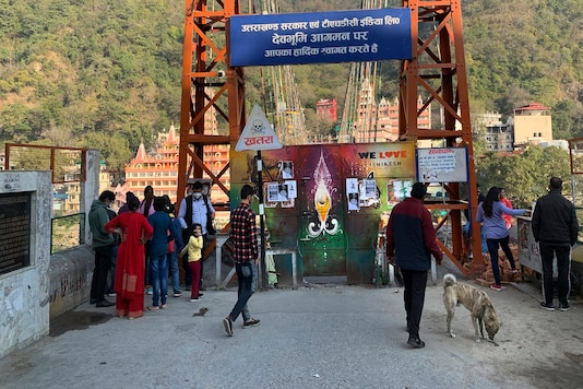 Lakshman Jhula, a suspension bridge across the River Ganges is seen after it is closed as a precautionary measure in Rishikesh. (AP Photo)