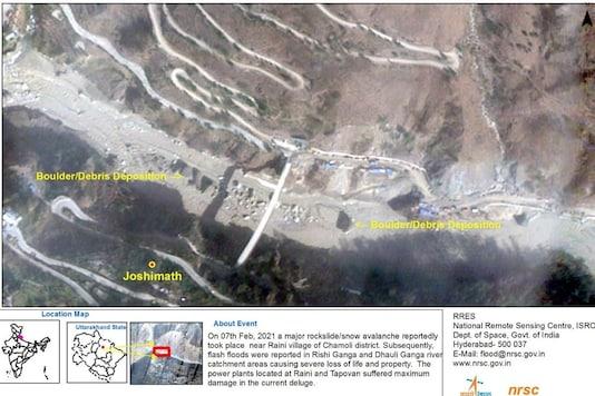 Boulder and debris deposition at Dhauliganga river. (Image: ISRO/NRSC)