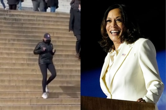 Flanked by security service personnel, Harris is seen jogging up and down the stairs of the Lincoln Memorial. (Credit:gobobbygogo/Instagram)