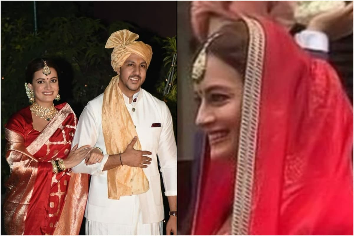 In Pics: Dia Mirza Makes a Stunning Bride in Red Saree as She Poses with Hubby Vaibhav Rekhi - News18