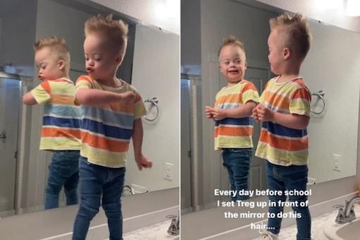 Video grab of little boy dancing in the bathroom. (Credit: IG/ @thehouseofwheeler)