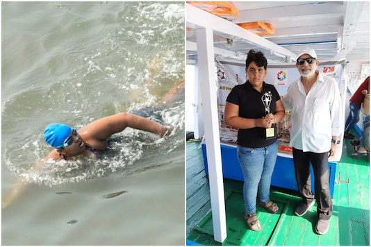 Jiya Rai, 12, has just set history as youngest person with autism to swim 36 km in the open sea | Image credit: Twitter