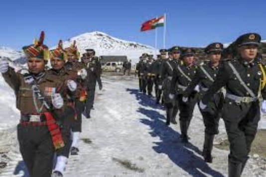 Indian and Chinese troops amid Galwan Valley dispute