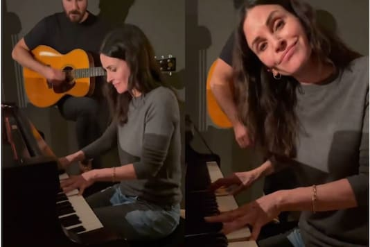 Video grab of Courteney Cox playing Friend's theme.  (Credit: Instagram)