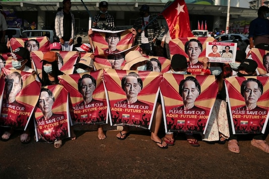 People protest against the military rule in Myanmar. (Reuters)