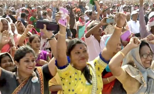 File pic of women at an election rally in Assam.