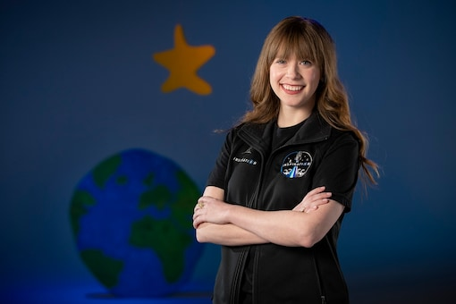 Hayley Arceneaux of Memphis, Tennessee, a  physician assistant and a former patient will launch later this year alongside a billionaire who's using his purchased spaceflight as a charitable fundraiser. (Mike Brown/American Lebanese Syrian Associated Charities, St. Jude Children's Research Hospital via AP)