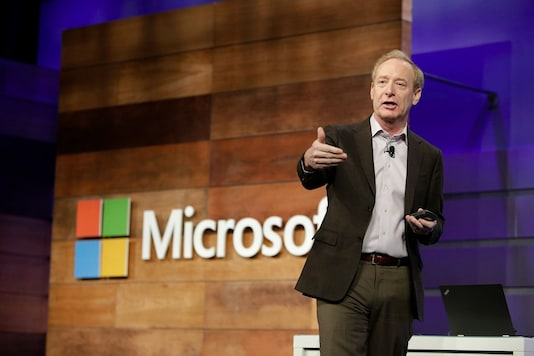 Microsoft president Brad Smith, during a company keynote. (File photo)
