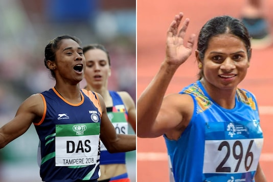 Hima Das (L) and Dutee Chand (Photo Credit: Reuters and Odisha Sports Twitter)