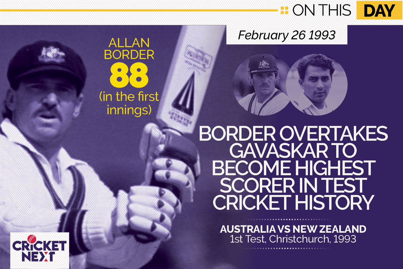 On This Day - February 26, 1993: Border Overhauls Gavaskar To Become Highest Scorer in Test History