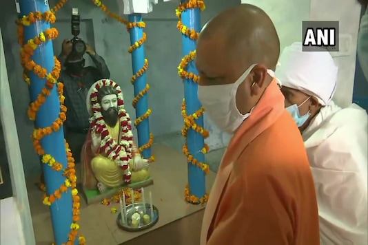 CM Yogiadityanath pays tribute at Sant Ravidas Mandir on the birth anniversary of saint-poet Ravidas today,.