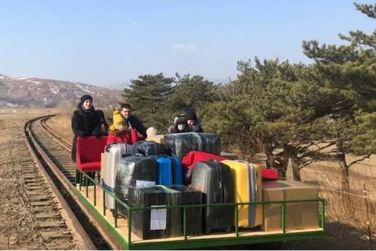 Eight Russian diplomats and family members -- the youngest of them a three-year-old girl -- have arrived home from North Korea on a hand-pushed rail trolley due to Pyongyang's coronavirus restrictions / AFP.