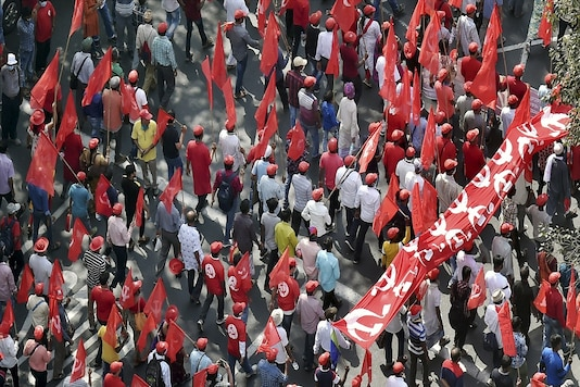 Left party activists march towards Brigade Parade Ground to join Left-Congress-ISF rally. File photo: PTI