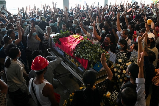People attend the funeral of victims shot dead during the anti-coup protest in Yangon, Myanmar, March 5. (REUTERS)