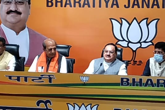 Dinesh Trivedi and JP Nadda  during the press conference on Saturday.