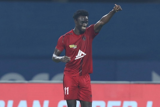 Idrissa Sylla scored NorthEast United FC's equaliser in stoppage time. (Photo Credit: ISL)