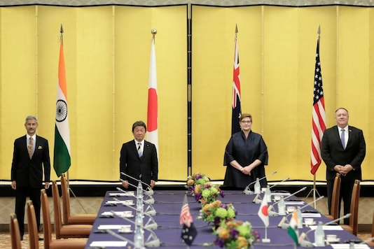India's foreign minister S Jaishankar, Japan's foreign minister Toshimitsu Motegi, Australia's foreign minister Marise Payne and then US Secretary of State Mike Pompeo pose for a picture prior the Quad ministerial meeting in 2020. (Reuters)