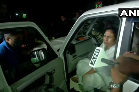 Mamata Banerjee on her way back to Kolkata. (ANI)
