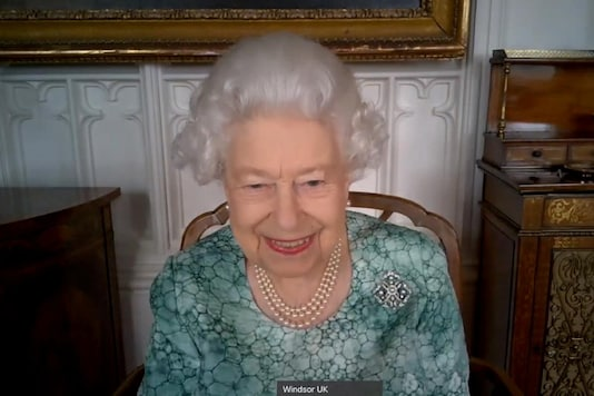 Britain's Queen Elizabeth II attends a virtual science showcase to mark British Science Week in this screenshot provided by the Royal Communications on March 12, 2021. (Reuters)