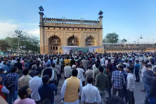 A protest against Waseem Rizvi was held in Lucknow on Sunday.