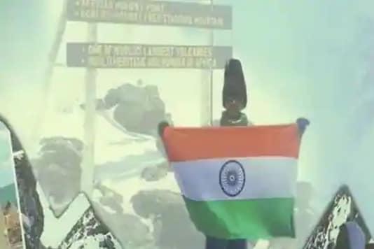 Virat Chandra from Hyderabad climbs Mt Kilimanjaro. (Credit: ANI/Twitter)
