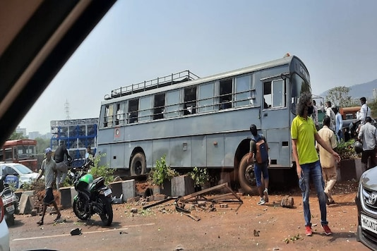 An Air Force Station Thane vehicle with 24 persons onboard met with an accident on Vikhroli highway in Mumbai. (Image: ANI)