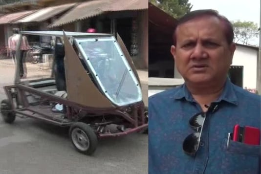A farmer in Mayurbhanj has built a four-wheeled electric vehicle that runs on battery & charged using solar power. (Credit: ANI/Twitter)