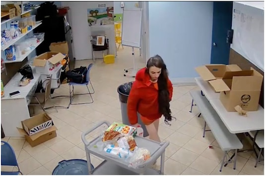 Footage shows a woman eating and stealing from a store in NYC | Image credit: YouTube