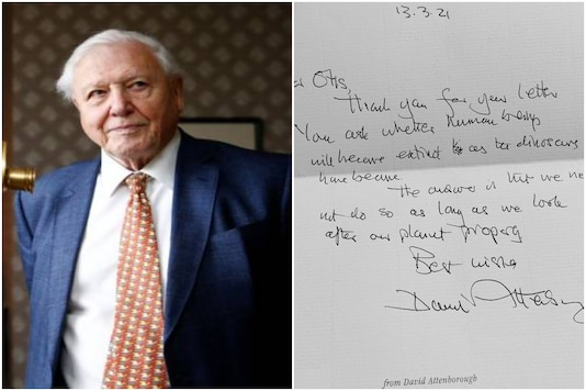David Attenborough and his handwritten letter | Image credit: Reuters/Twitter
