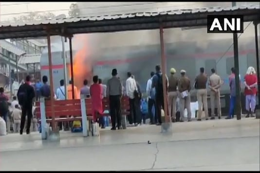 Fire breaks out at the generator car of Shatabdi Express at Ghaziabad railway station.