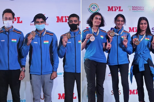 Indian men's and women's 10m air pistol teams (Photo Credit: NRAI)