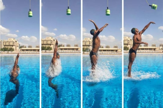Omar Sayed Shaaban. Egyptian swimmer sets world record with the highest jump out of water.  (Credit: Guinness World Records)