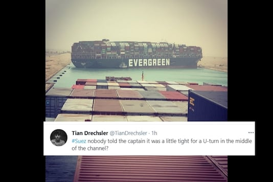 The vessel is 400m long and 59 metres wide and has made it impossible for any other ship to pass through. (Credit: @nameshiv/Twitter)