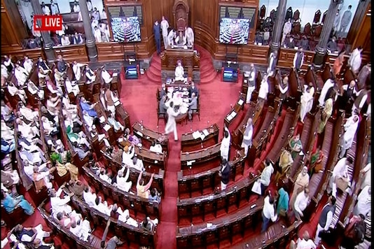 Congress MPs walk out amid voting on the Government of National Capital Territory of Delhi (Amendment) Bill at Rajya Sabha in New Delhi, Wednesday. (PTI)
