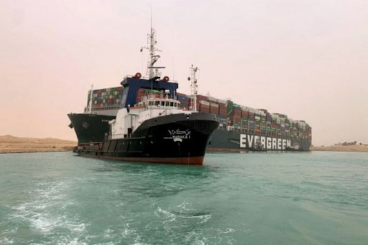 The ship is stranded at the narrow Suez Canal which connects Mediterranean in the north with the Red Sea in the south. (AFP)