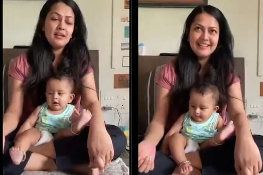 Video grab of mother-son jugalbandhi.  (Credit: Twitter)