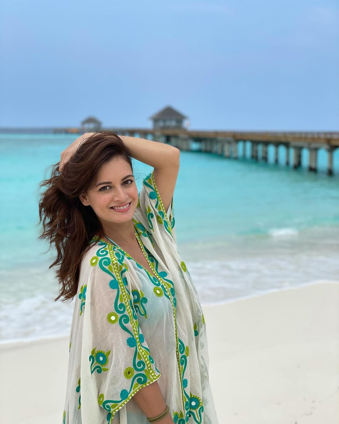 Dia Mirza is a picture of elegance as she is honeymooning in Maldives with husband Vaibhav Rekhi. (Image: Instagram)