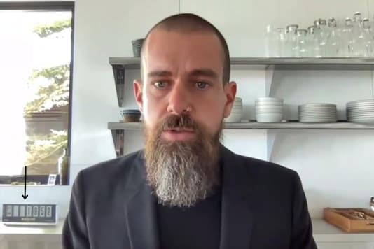 Jack Dorsey and the 'weird clock' on his right side.