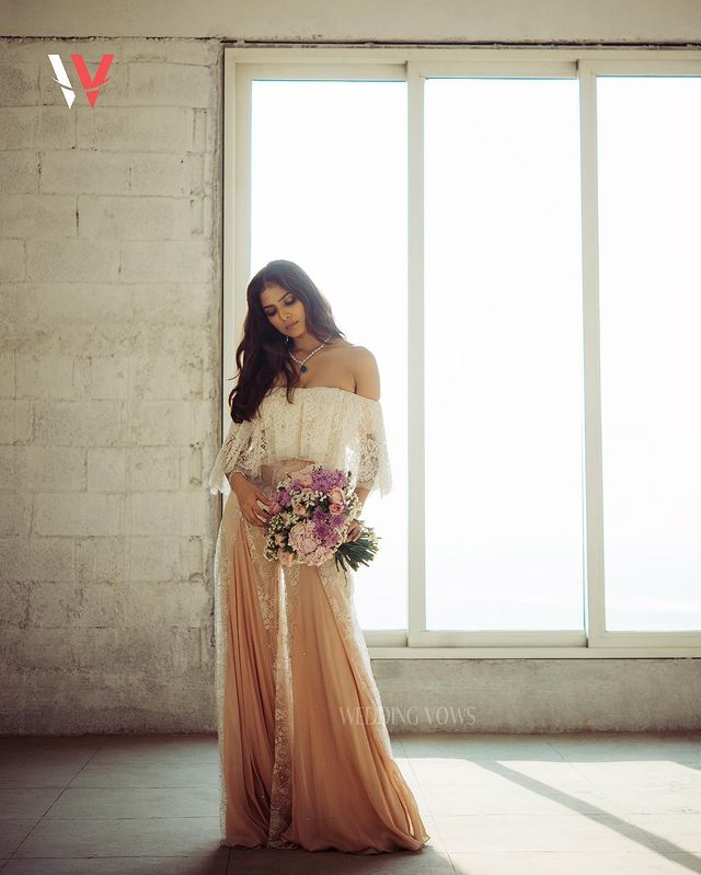 Malavika Mohanan looks graceful in the lace top and palazzo pants. (Image: Instagram)