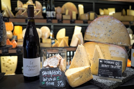 French cheese is displayed for sale at a supermarket in Joinville-le-Pont, near Paris, as sales of cheese eaten at home has rocketed over the last year.