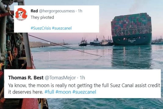 Twitter launched a fresh wave of memes as Ever Given partially floats in water in the Suez canal. (Credit: twitter)