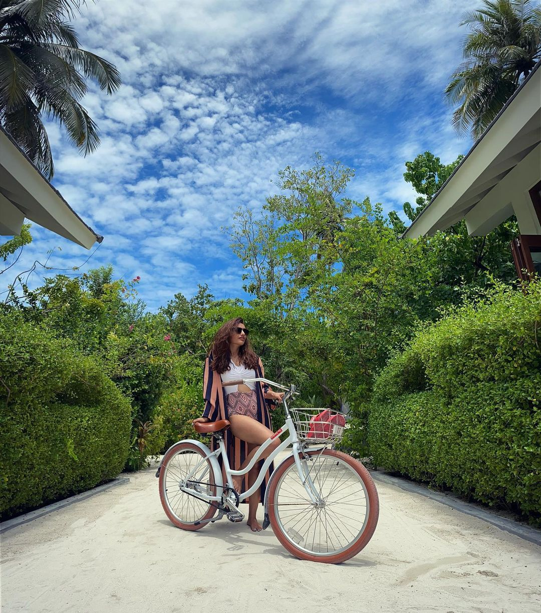 Surbhi shared photos of how she is spending her time in Madives. Posting a photo with a bicycle, she said,